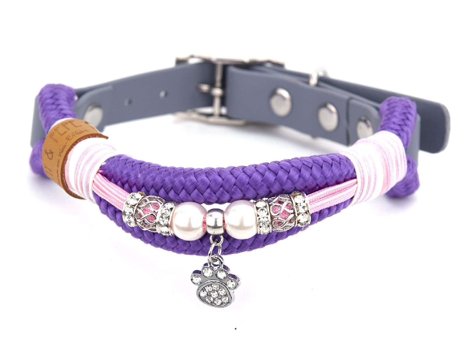 Tauhalsband mit Perlen Violette
