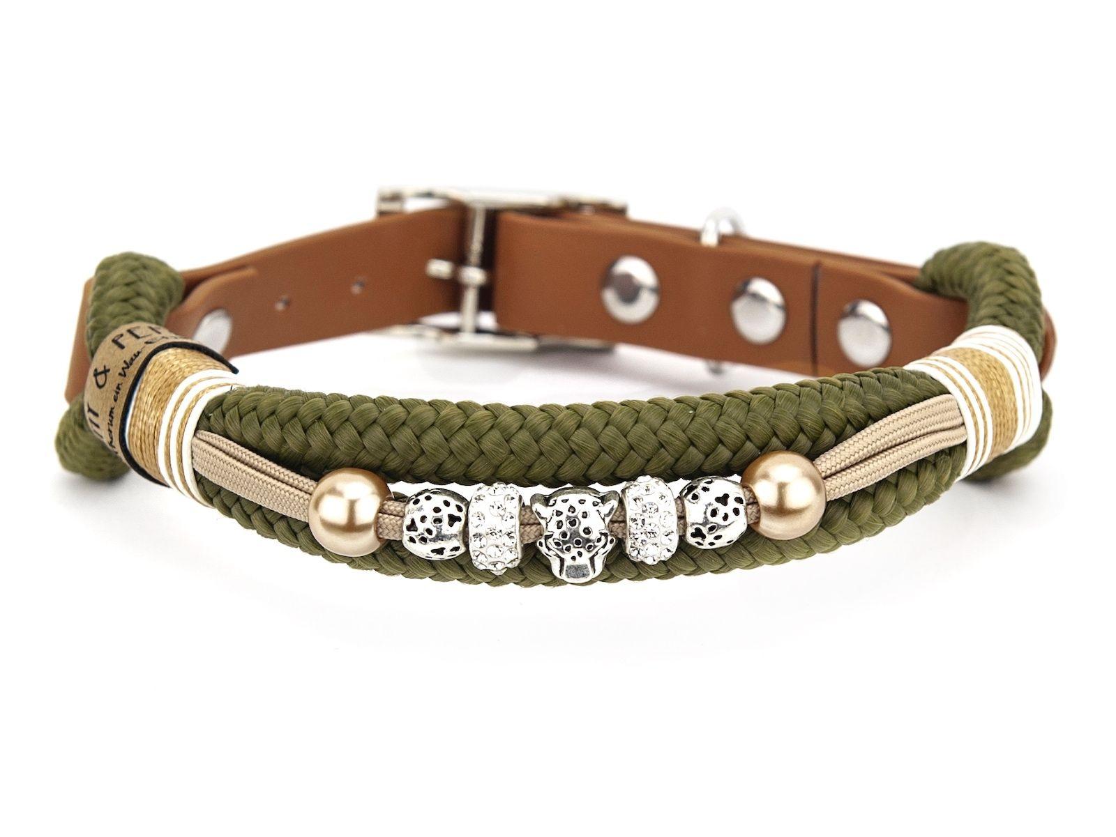 Tauhalsband mit Perlen Green Panther